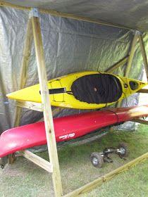 riding with dogs: homemade kayak rack storage unit