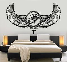 Vinyl Wall Decal Eye Of Horus Ra Egyptian God Protective Amulet Stickers (1205ig)
