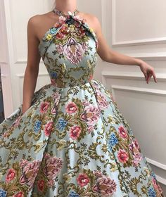 Details - Blue Stone dress color - Designed Taffeta dress fabric - Handmade embroidered TMD flowers - Ball-gown with waist definition - For parties and special events Elegant Dresses, Pretty Dresses, Vintage Dresses, Evening Dresses, Prom Dresses, Formal Dresses, Dress Prom, Casual Dresses, Office Dresses