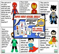 Super-hero-Social-Skills-52+ social scenarios, 2 game boards and 4 ways to play