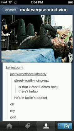 Vic... What are you doing in Kellin's pocket..? i couldnt help but smile at that