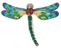 Sterling Silver Multi-Color Enamel Dragonfly Pin w/ Marcasite