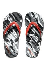 Speedo Kids Loco Zorillas black and white camo flip flop with red strap