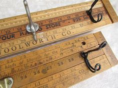 Vintage rulers as hangers from My Salvaged Treasures.
