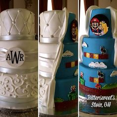 Brought to us by Bittersweet's Chocolate and Pastry, the Super Mario Bros. Cake will help power up any wedding. Geek Wedding, Wedding Games, Our Wedding, Dream Wedding, Wedding Ideas, Wedding Stuff, Mario Cake, Peach Cake, Cupcakes
