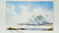 How to paint Clouds and Sky in watercolor. In real time. Simple, easy an...