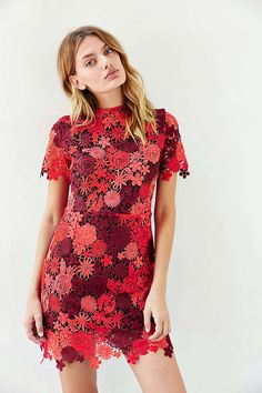 Glamorous Red Daisy Lace Dress - Urban Outfitters