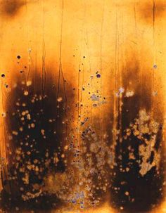 yves klein- FIRE PAINTING F6 1961 In the spring of 1961, Klein (created)...The 'Fire Paintings' today (are) .....some the most elemental and spiritual of his works.... Using the bodies of young women as a mask .... such that the impressions their corpulence left on the paper....a negative impression against the ...flame's action.