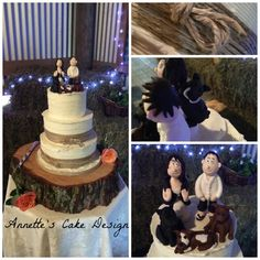 Country feel cake, with bride and her pig hunting dogs! www.annettescakedesign.co.nz
