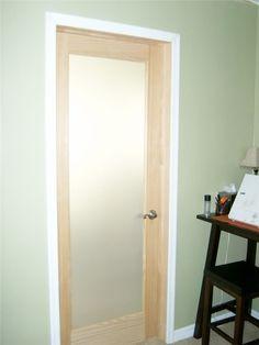 Wood Framed Bathroom Door With Frosted Glass Interior  Home Doors Endearing Bathroom Doors Design Design Inspiration