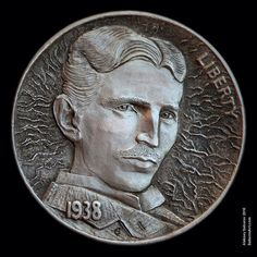 """Nikola Tesla - the master of electricity"" - Hobo Nickel engraved by Aleksey Saburov."