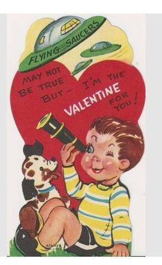 Vintage Valentine boy w/telescope,puppy, &flying saucers.