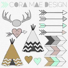 Cora Mae Design: Free TeePee, Antler, Arrow clipart, Tribal print digital papers