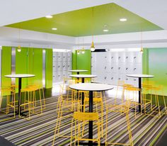 green + yellow corporate space