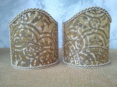 Couple of lampshades decorated with operato jacquard textured fabric with geometric fragments jolts patterns, finished with Ivory & Gold precious trim. 49,00 €