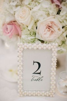 pearl picture frames wedding table decor
