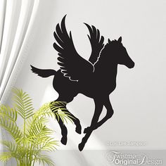 SALE: Baby Pegasus Flying Horse Decal - Fantasy Horse Wall Decal, Winged Horse, Greek Mythology, Year of the Horse