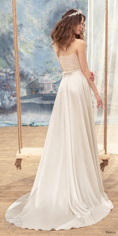 papilio 2017 bridal sleeveless bateau neckline heavily embellished bodice satin skirt romantic modiified a line wedding dress sweep train (skylark) bv