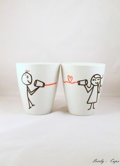 cups, mugs, say love through the tin from Lovely-Cups on DaWanda . Diy Becher, Tassen Design, Diy Mugs, Cute Mugs, Pottery Painting, Be My Valentine, Diy Gifts, Tea Time, Wedding Gifts