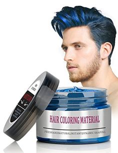BMK Blue Color Hair Wax Matte Hairstyle Pomades Disposable Temporary Modeling Natural Hair Styling Wax for Party, Cosplay, Nightclub, Masquerad, Halloween