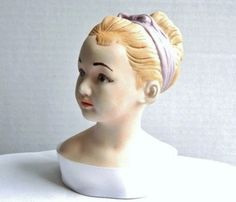 Vintage Hand Painted French Girl Ceramic Bust Head - Louise Brongniart - 1950 - Beautiful. $20.99, via Etsy.