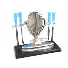 Art Deco Manicure Set Solid Silver Blue Guilloche Enamel 8 pc 1930s... ($1,104) ❤ liked on Polyvore featuring beauty products