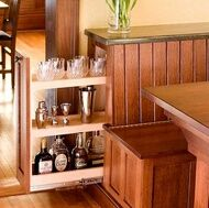 Pull out storage drawer in back of bench at built in breakfast nook.