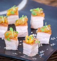 Crispy crackle pork cubes with orange marmalade mousse. YUM! Find more like this at http://www.myweddingconcierge.com.au #weddings #catering