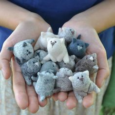 Theater Artist Receives A Pack Of Wool As A Gift, Becomes A Toy Designer Pics) Moscow-based artist Nastasya Shuljak has grown up in nature, enjoying the natural world around her. Now, she's creating miniature wool sculptures of small Needle Felted Cat, Needle Felted Animals, Felt Animals, Small Animals, Cat Crafts, Kids Crafts, Arts And Crafts, Needle Felting Tutorials, Felt Cat