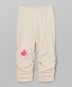 Look at this Victoria Kids Ecru Ruched Leggings - Infant, Toddler & Girls on #zulily today!
