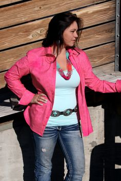 New Spring Colors for Cowgirl Fashions at Ruby Rose Cowgirl Clothes. Pink Is back. www.rubyrosecowgirlclothes.com Red Leather, Leather Jacket, Spring 2015 Fashion, Ruby Rose, Cowgirl Style, Spring Colors, Spring Outfits, Outfit Ideas, Blazer