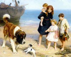 Brave Little Jack~ 8x10 Print~ Victorian Children ~Jack Russell Terrier Dog eBay