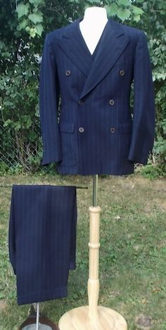 1920s 4 Piece Navy Blue Double-Breasted Pinstriped Suit