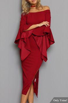 Burgundy Flare Long Sleeves Off Shoulder Slit Dress -YOINS