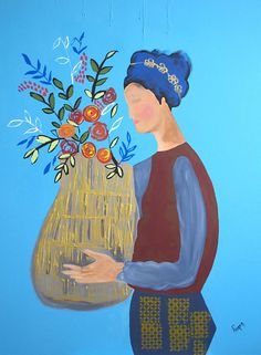 figurative abstract art women girl with flowers still life