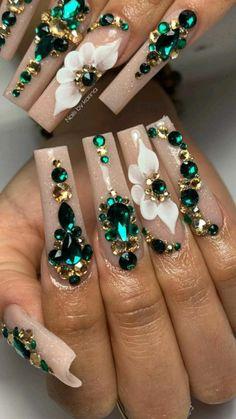 Nail Designs Bling, Bling Nail Art, Nails Design With Rhinestones, Cute Acrylic Nail Designs, Glam Nails, Rhinestone Nails, Bling Nails, Acrylic Nail Set, Acrylic Nails Coffin Pink
