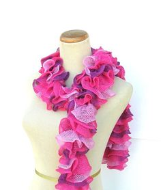 Valentines Day Hand Knit Ruffled Scarf  Pink by ArlenesBoutique, $35.00