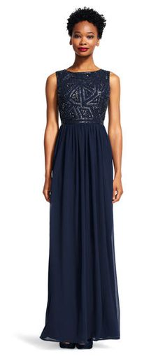 Adrianna Papell | Black Sleeveless Dress with Geometric Beaded Bodice | Prom Dress Trends