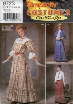 Simplicity 9723 Misses Stage Costume Pattern Victorian Edwardian Gibson Girl ala My Fair Lady  womens sewing pattern by mbchills, $25.00