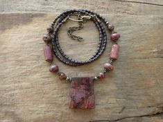 Raspberry Red Jasper Necklace rustic and by ArtifactsEtCetera