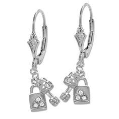 Silver Cubic Zirconia Love Lock Key Fleur-de_Lis Leverback Earrings #earpinearrings #sterlingsilverearpins #earringsthatgoup #pinearrings #earpinsjewelry #earpin #earpin #earspirals #earspirals #slideonearrings #climbtheearearrings #wrapearrings #nonpiercedearrings #earcuffs #personalizedbracelets #earcuffs #cuffearrings #cliponearrings #earspiralsearrings #earspiralearrings