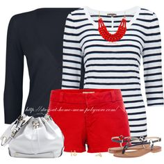 Nautical in Red Shorts Mom Outfits, Short Outfits, Casual Outfits, Summer Outfits, Cute Outfits, Fashion Outfits, Summer Clothes, Fashion Scarves, Mom Fashion