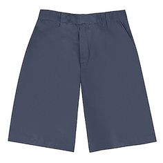 These boys shorts are an essential element for any school uniform wardrobe by Classroom Uniforms.  Black flat-front shorts with side pockets and belt loops. Waist has center-back elastic. Stain-and-soil-resist treated poly/cotton twill holds color and rel