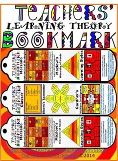 It is our hopes that this funky, fun Teachers' Learning Theory Bookmark freebie will inspire you by:  1.  Its 2 tests to try with your students – the Learning Style Test and the Multiple Intelligences Test (at the links provided on the bookmark);  2.The reminder to use a variety of High Probability Instructional strategies (Marzano), Higher Level Questions (Bloom), in order to    reach students with various Learning Styles and Multiple Intelligences (Gardner), being sensitive to each ...