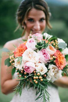 Lisa Foster Floral Design - summer bridal bouquet - pink wedding flowers - greenery - garden roses - coffee berry - peach wedding flowers - blush flowers - Tennessee wedding - southern wedding