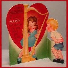I love this little fellow going in for a kiss through the #harp strings. #vintage #valentine #love