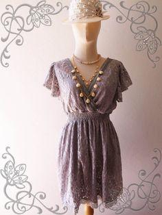 Amor Vintage Inspired- I'm So Beautiful- Sweet Vintage Feminine Style Ruffle Sleeve Classic Grey Flower Filigree Lace Dress, $39.00 from #Etsy
