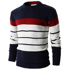 Mens Casual Cotton Striped Pullover Sweater of Various Colors (KMOSWL017) Doublju (23,330 KRW) found on Polyvore #doublju