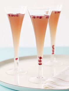 Pear, Pomegranate, and Prosecco Cocktail