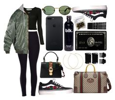 """""""she don't never pay attention to the vultures"""" by hoodprophet ❤ liked on Polyvore featuring Off-White, Vetements, Gucci, Allison Bryan, Monki and T3"""